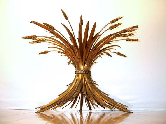 Italian Gilt Sheaf of Wheat Coffee Table - Mid Century Hollywood Regency Style - Decorator Item