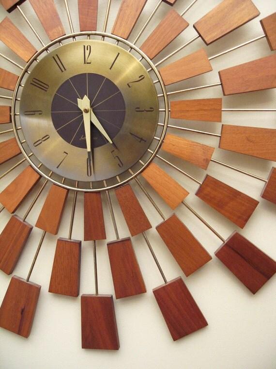 Seth Thomas Grandeur Wall Clock Mid Century Sunburst