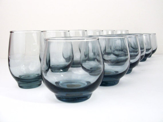 Libbey Smoked Blue Glasses / Mid-Century Cocktail Barware - 12-piece set - Mint
