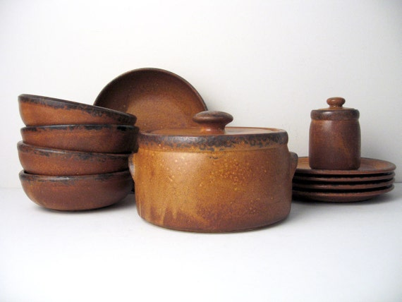 McCoy Pottery Canyon Mesa Brown Casserole, Bowls, Plate, Vegetable Bowl, Condiment Jar - service for 4