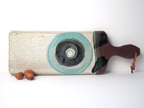 Mid-Century Modern Ceramic Cutting Board / Serving / Decorative / Cheese Board / Art Pottery