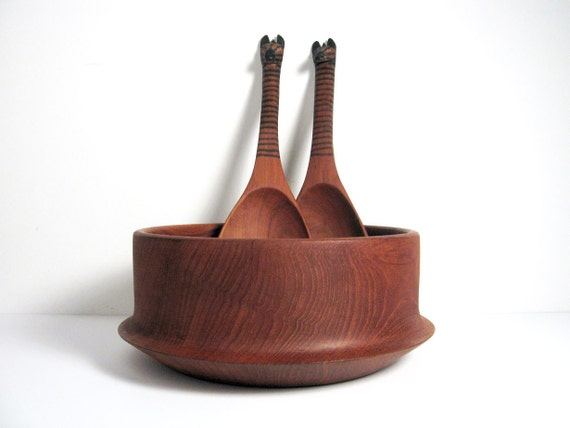Mid-Century Danish Modern Teak Serving Bowl with Spoons