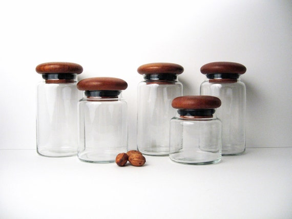 Danish Modern Glass Jars with Teak Lids - Vintage Mid-Century Canister / Container Collection