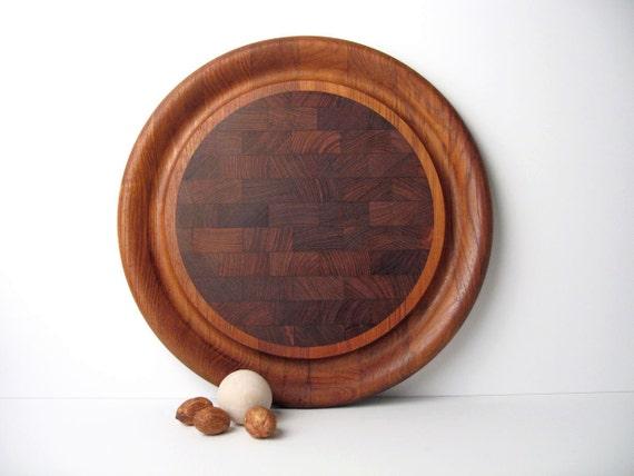 DANSK Round Teak Tray / Serving / Cutting / Carving Board - Made in Denmark, Jens Quistgaard