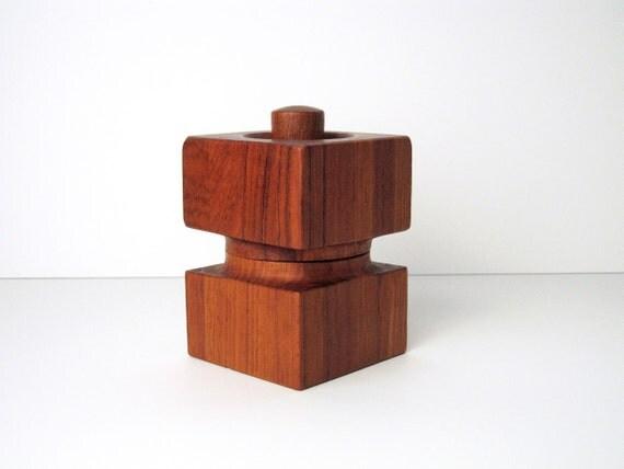 DANSK Teak Pepper Mill and Salt Shaker Combination - Square Model 1624