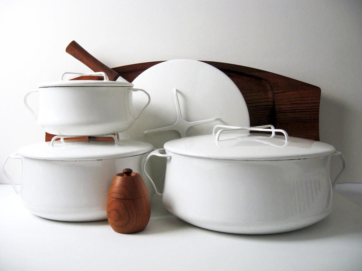 Rare Dansk Kobenstyle White Enamelware Collection 4 Pieces