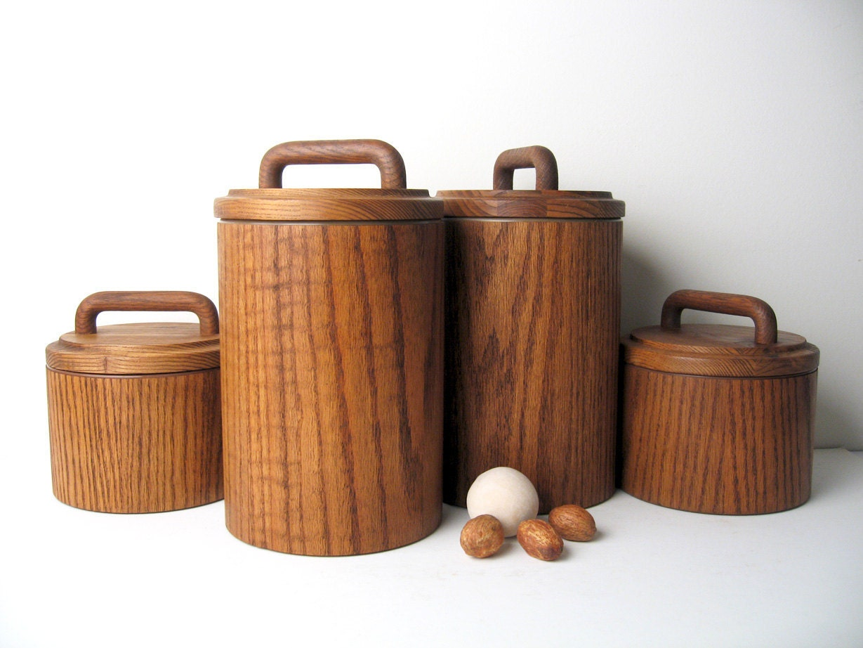 wooden canisters kitchen mid century modern wooden canister container set 4322