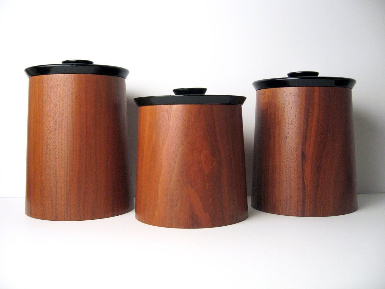 Danish modern walnut wood canister container set by gladmark for Kitchen colors with white cabinets with star of david candle holder