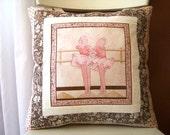 SALE, Ballet Pillow, Pink Little Girl, Decorative, Ballet Slippers