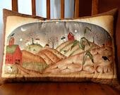 Fall Pillow, Primitive, Harvest Town, Corn