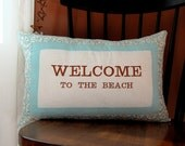 SALE, Beach Pillow, Sand Dollar, Nautical, Welcome to the Beach