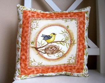 SALE, Nesting Birds, Accent Pillow, Finch
