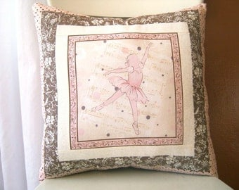 SALE, Ballet Pillow, Pink Little Girl, Decorative, Ballet Slippers