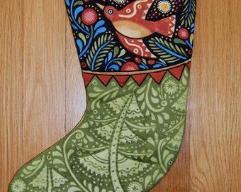 Christmas Stocking, Folk Art, Bird, Hand Quilted