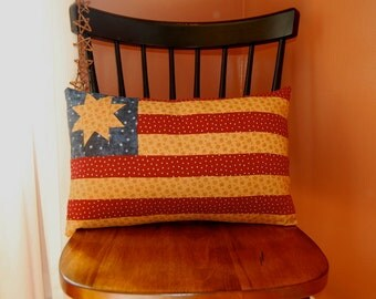 SALE, American Flag Pillow, Americana Folk Art Pillow, Stars and Stripes
