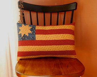 SALE, American Flag Pillow, Americana Folk Art Pillow, Stars and Stripes