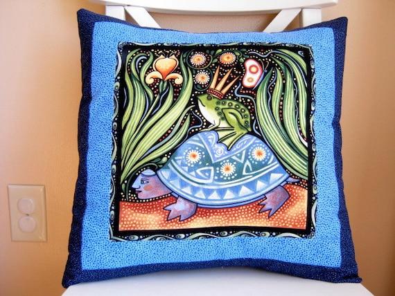 SALE, Pillow, Oceanica Frog Prince, Folk Art