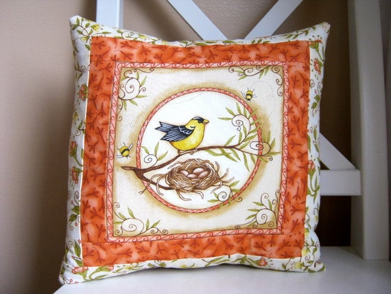 SALE, Nesting Birds, Accent Pillow, Finch