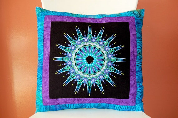 Reserved for Jennai, SALE, Kaleidoscope Pillow Collection, Batik Pillow, Blue and Purple