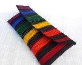 Rainbow Striped, Black, Silk, Classic Clutch, Bridesmaids, Bridal, Formal