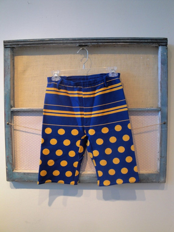 Reserved for Cynth1a - 50's Mens Knit Blue and Yellow Stripe and Polka Dot Swim Trunks size Small