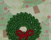 Christams Wreath with Red Crocheted Ribbon