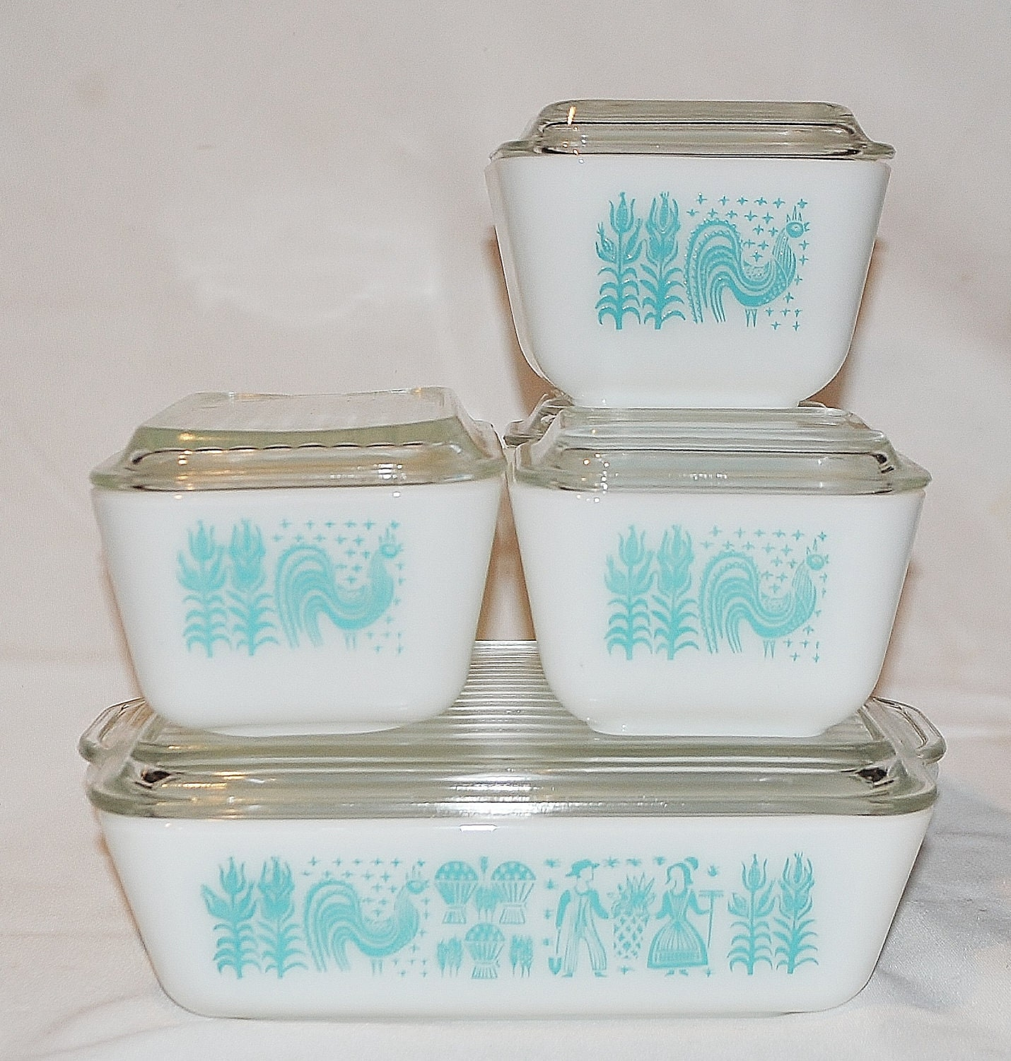 1950's Pyrex Refrigerator Dishes Set Of 5 Amish