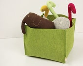 Felt Basket, Natural Wool Green Felt Box 10x10x8