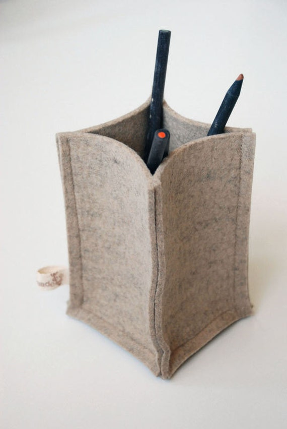 Pencil Holder - Natural Wool Felt Container