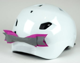 Fuchsia Reflective Bike Helmet Bow