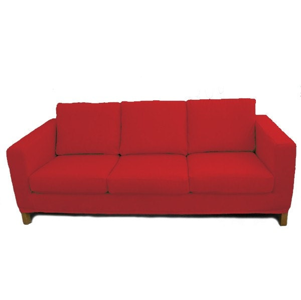 custom ikea karlanda sofa slipcover in red cotton twill. Black Bedroom Furniture Sets. Home Design Ideas