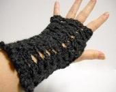 Fingerless Mitts,  Black Computer Gloves,  Womens Fingerless Mittens, Ladies Accessories