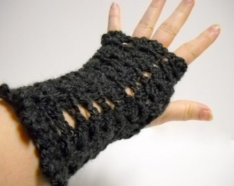 Fingerless Mitts,  Black Computer Gloves,  Womens Fingerless Mittens, Ladies Accessories