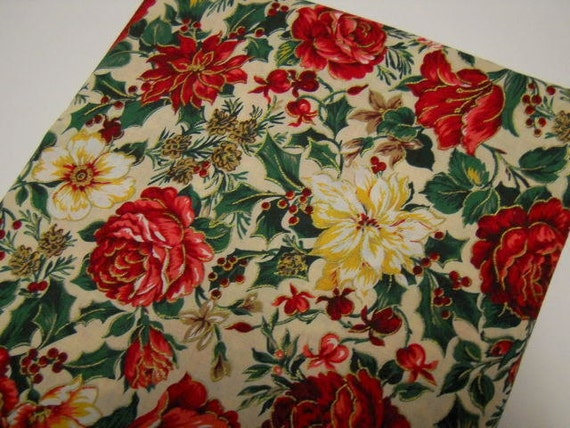 Christmas Fabric with a Floral Print