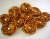 Fabric flowers --- 5 golden caramel---5 for 5---upcycled