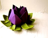 Paper Lotus, Purple and Green, Wedding Decor, Wedding Bouquet, Home Decorations, Event Decorations by The Little Red Button on Etsy