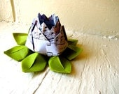 Paper Lotus, Music Sheet and Green, Wedding Decor, Wedding Bouquet, Home Decorations, Event Decorations by The Little Red Button on Etsy