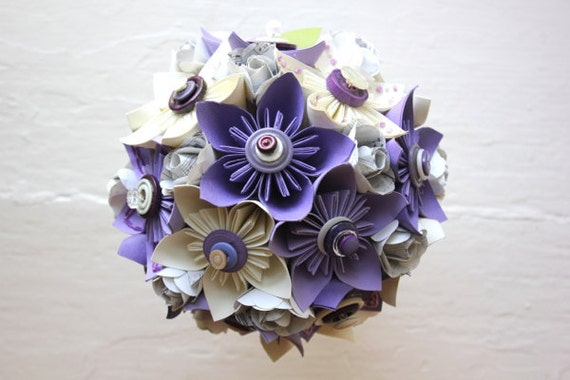 Paper Flower Bouquet, Wedding, Purple, White, Kusudama, Book Page Rose