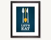 Let's Eat, modern kitchen, spoon fork knife flatware utensil, dinner dinning, blue: 5x7
