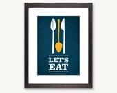 Let's Eat, kitchen art flatware utensil print- blue/yellow: 8x10