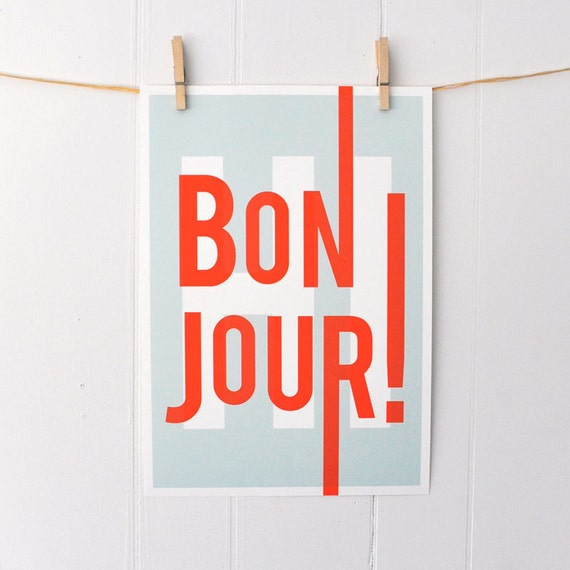 Bonjour, French, hello hi, greetings, typography art print, modern home entry foyer art, turquoise/red: A3 SALE PRINT