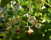 Sterling Silver Metalwork and Copper Beaded and Wire Wrapped Dangle Earrings- Copper and Swirls