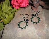 Wire Wrapped Metalwork with Gemstone Beaded Dangle Earrings- Green Wrapped Spinel