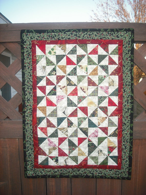 Quilted wall hanging Quilted Table Mat Christmas Pinwheels Quilt