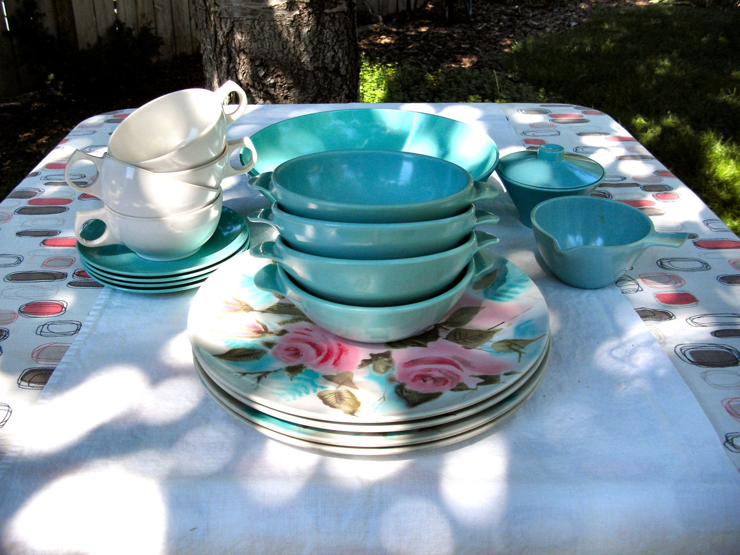 Melamine Melmac Dishes Set Turquoise White And Pink Roses