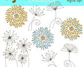 Chrysanthemums and Dandies in Aqua digital clipart
