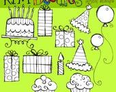 Birthday Digital Clip art digital stamps black line