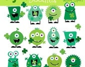 INSTANT DOWNLOAD St Patricks Monsters digital clip art