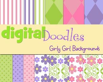 KPM Girly girl digital paper pack