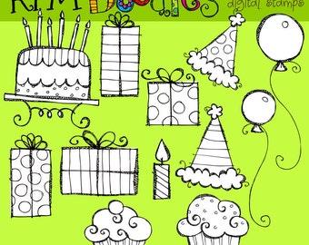 KPM Birthday Digital Clip art digital stamps black line